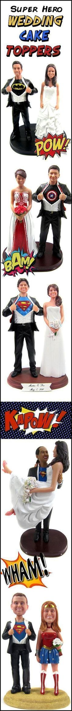 Custom Super Hero Wedding Cake Toppers are sculpted to look like the bride and groom with your choice of hidden identity!