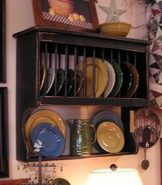 "Primitive Plate Rack With Dowels - 32"" Wide - Color Choice"