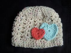 Crochet Baby Beanie with Hearts