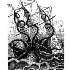 Giant Octopus Attacks Pirate Ship Nautical Vintage Style Art Print via Etsy