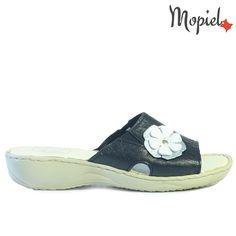 Papuci dama din piele naturala 26500/Negru-Silver/Dita
