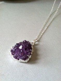 Amethyst -                                                      Raw Amethyst Druzy Necklace sterling silver modern by CoastalSoul, $55.00