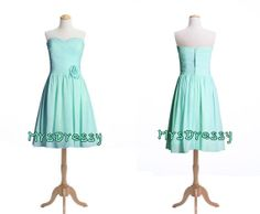 blue mint, teal mint sweetheart neck short bridesmaid dress