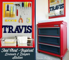 Vanessa Shaffer Designs: Travis' Construction Themed Nursery: Tool Chest-Inspired Dresser and Diaper Changing Station #constructiontheme #nursery