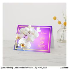 Happy Retirement Wishes White Orchids Elegant Card 30th Birthday Cards, Happy 40th Birthday, Happy Retirement Wishes, White Orchids, Congratulations Card, Custom Greeting Cards, Flower Cards, Elegant, Cursive Script