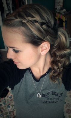 Braid and curly ponytail:)