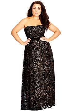Free shipping and returns on City Chic Strapless Burnout Velour Maxi Dress (Plus Size) at Nordstrom.com. An elegant strapless dress cut from rich black velour is designed with a pale contrast lining to illuminate the intricate burnout patterning. An inset band provides waist-defining flattery atop the romantic, floor-sweeping skirt.