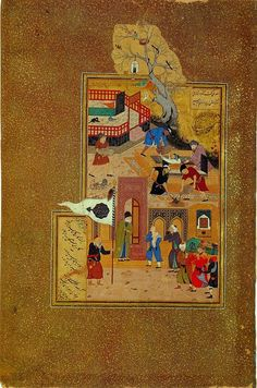 From Wikiwand: A miniature painting by Bihzad illustrating the funeral of the elderly Attar of Nishapur after he was held captive and killed by a Mongol invader. Islamic Paintings, Indian Paintings, Exotic Art, National Art, Equine Art, Sacred Art, Science, Military Art, Illuminated Manuscript