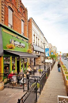 Barrie, Ontario, downtown bar's and cafe's - notice the street side flower box / planters!