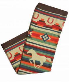 "x 60"" Southwest horse design fleece throw blanket"