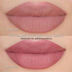 NYX Cosmetics Liquid Suede Cream Lipsticks in Sandstorm & Soft-Spoken - Makeup-trends. Makeup Swatches, Makeup Dupes, Skin Makeup, Makeup Lipstick, Drugstore Lipstick, Liquid Makeup, Drugstore Beauty, Nyx Cosmetics Lipstick, Nyx Lipstick Swatches
