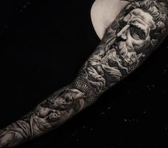 Tattoo by Ledwin- Awesome black and grey greek mythology sleeve done by our talented artist Led! Check out more of his work and for more of the shop go to - Realistic Tattoo Sleeve, Wolf Tattoo Sleeve, Leg Tattoo Men, Best Sleeve Tattoos, Tattoo Sleeve Designs, Zeus Tattoo, Poseidon Tattoo, Hercules Tattoo, God Tattoos