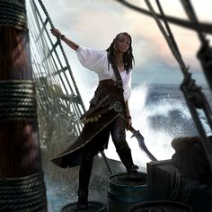 Female pirate, looks like Gwent TCG, artist unknown Pirate Queen, Pirate Art, Pirate Woman, Pirate Life, Lady Pirate, Fantasy Character Design, Character Concept, Character Art, Concept Art