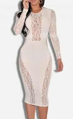 Lace Accent Party Midi Dress