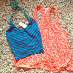 2 summer tops at a reduced price! Get 2 fun tops at a reduced price. One is a cropped halter top striped with royal blue and Aqua. The second top is an a-line tissue racer back tank with animal print. Ambiance Apparel Tops