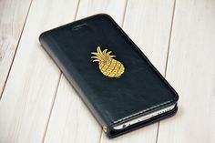 Pineapple Black iPhone 6 / iPhone 6s Wallet Case Leather 2 Slot Card Holder Handmade for Him or Her Wallet iPhone6 Cover Cell Phone Case by CaseCavern on Etsy https://www.etsy.com/listing/241680942/pineapple-black-iphone-6-iphone-6s