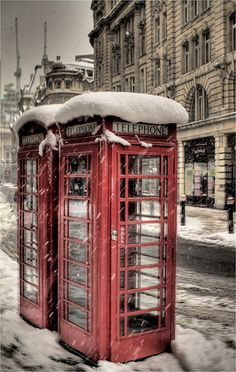 Red Boxes in London in Winter