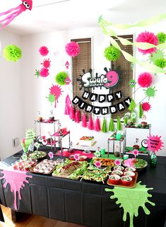 Birthday party decoration with Splatoon 2 theme! 7th Birthday Party Ideas, Sleepover Birthday Parties, 11th Birthday, Birthday Party Decorations, Happy Birthday, Nintendo Party, Slime, Orange Things, Happy Party