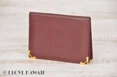 Cartier Gold Plated / Wine Leather Must Line Card Case
