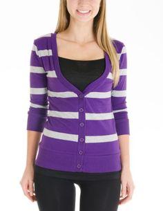 Juniors T-Shirt Fabric Cardigan 3/4 Sleeve 6 Button Many Colors (Small, Striped:Purple/Gray) Cotton Cantina,http://www.amazon.com/dp/B00DZUROI8/ref=cm_sw_r_pi_dp_-88qsb0T2T11KCBG