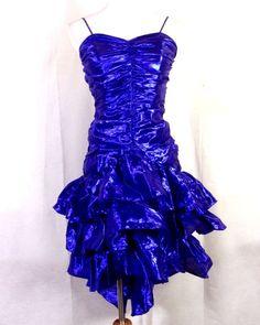 d9cb4b893 vtg 80s Roberta LOUD Metallic Purple Ribbon Formal Prom Dress ruffle tiered  5/6 80s