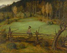 "poboh: "" ""The Wren"" (Little Bergbauernbub sitting on the fence and looking at the scenery), Matthäus Schiestl. Nature, Printmaking, Painter, Sitting On The Fence, Painting, Illustration Art, Art, Scenery, Vintage Illustration"