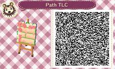 Animal Crossing QR Codes ❤ Manila brick path w/ pink rose border and petals:) TILE#4<-- Lower Left corner