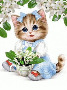 Have a good day with this very cute good morning ecard. Free online A Very Cute & Adorable Morning Ecard ecards on Everyday Cards Cute Good Morning, Good Morning Images, Beautiful Gif, Animals Beautiful, Kittens And Puppies, Cats And Kittens, Cute Baby Animals, Animals And Pets, Gif Mignon