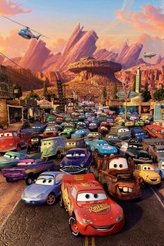 An original, rolled, one-sheet movie poster x from 2006 for the Walt Disney and Pixar film Cars. Disney Pixar Cars, Disney Movie Posters, Disney Pixar Movies, Disney Fun, Walt Disney, Auto Poster, Car Posters, Lightning Mcqueen, Cars Movie Quotes