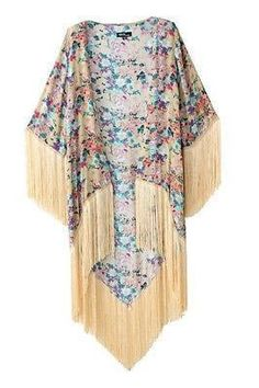 Boho-Style Floral Fringe Beach Cover Up S-L