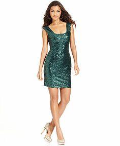 GUESS Dress, Sleeveless Sequin Sheath - Dresses - Women - Macy's