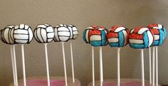 Standard and Molten volleyball cake pops.