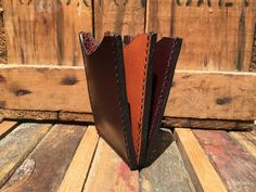 Black Cherry Leather Vertical Accordion Front Pocket Wallet   Etsy Money Clip Wallet, Card Wallet, Front Pocket Wallet, Painting Edges, Hole Punch, Card Holders, 3 D, Wallets, Cherry