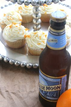 Blue Moon Cupcakes with Orange cream cheese frosting. Used this frosting with my orange cake recipe. Frosting Recipes, Cupcake Recipes, Dessert Recipes, Cupcake Ideas, Dessert Ideas, Beer Cupcakes, Cupcake Cakes, Cupcakes With Alcohol, Summer Cupcakes