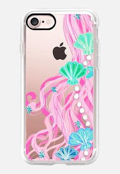 Casetify iPhone 7 Classic Grip Case - Mermaid Hair Bubbly Pink by Lisa Argyropoulos #Casetify