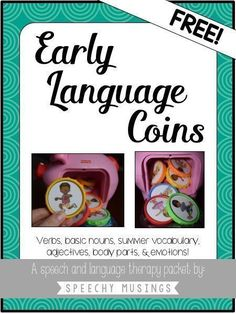 FREEBIE - Early Language Coins: Fisher Price Piggy Bank is a great tool for speech therapy working with young students. It's especially great for targeting core vocabulary words. While there are animals on the coins already, many of my students were having trouble seeing them! So I made my own labels! Download them for FREE. - Speechy Musings.