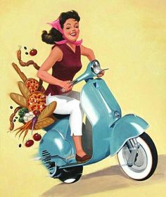 Shop for scooter art from the world's greatest living artists. All scooter artwork ships within 48 hours and includes a money-back guarantee. Choose your favorite scooter designs and purchase them as wall art, home decor, phone cases, tote bags, and more! Vespa Motor Scooters, Piaggio Scooter, Vespa Ape, Vespa Lambretta, Vespa Girl, Scooter Girl, Vespa Illustration, Motos Vintage, Vintage Vespa