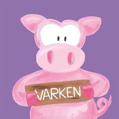 Kinderschilderijtje Beessie Varken