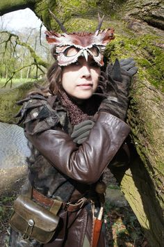 Me in my Shaman's Owl costume. Coat and gloves handmade with felt and cheesecloth. Elf Fantasy Fair, 2012.