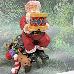 Christmas Stocking Hanger Holder SANTA w Toys Drum Bear RUSS Resin Heavy Vintage #Russ