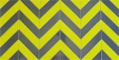 Ceramic Chevron subway tile for kitchen backsplash or bathroom tile in green color Chartreuse.