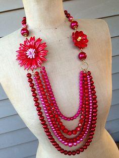Vintage Repurposed  Enamel Flower Necklace Statement by rebecca3030.etsy.com