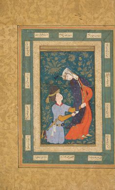 A woman detained by a kneeling youth ca. 1590s Ink, opaque watercolor and gold on paper. H: 40.6 W: 26.0 cm Bukhara, Ozbekistan