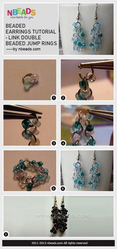 beaded earrings tutorial - link double beaded jump rings