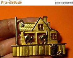 SALE TODAY Vintage Signed JJ Jonette Stray Cat Haunted House Street Light Gold Pin Brooch Halloween Spooky Jewelry