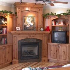 Corner entertainment center, fireplace, built in