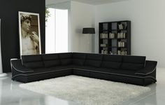 Divani Casa 5076 Black Bonded Leather Sectional SofaDimensions: 2 Seater: x x x x Seater: x x x Leather Sectional Sofas, Sofa Couch, Sofa Set, Couches, Modern Sectional, Grey Leather Sofa, Best Leather Sofa, Bonded Leather, Modern Grey Sofa