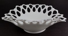 Westmoreland MILK GLASS Vintage Double Lace Oval Bowl - STUNNING!