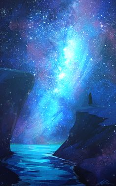 Expanding Onwards Art Print by zandraart – Galaxy Art Anime Galaxy, Galaxy Art, Anime Kunst, Anime Art, Fantasy Landscape, Fantasy Art, Space Fantasy, Landscape Art, Ciel Nocturne