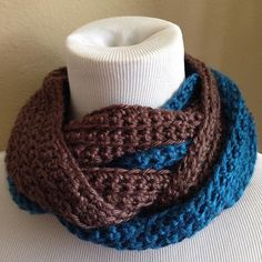 Unisex Chunky Infinity Cowl, Two Tone, Blue Brown, Extra Wide & Long Soft Cozy, Textured Crochet, Holiday Christmas Scarf - Winter Accessory